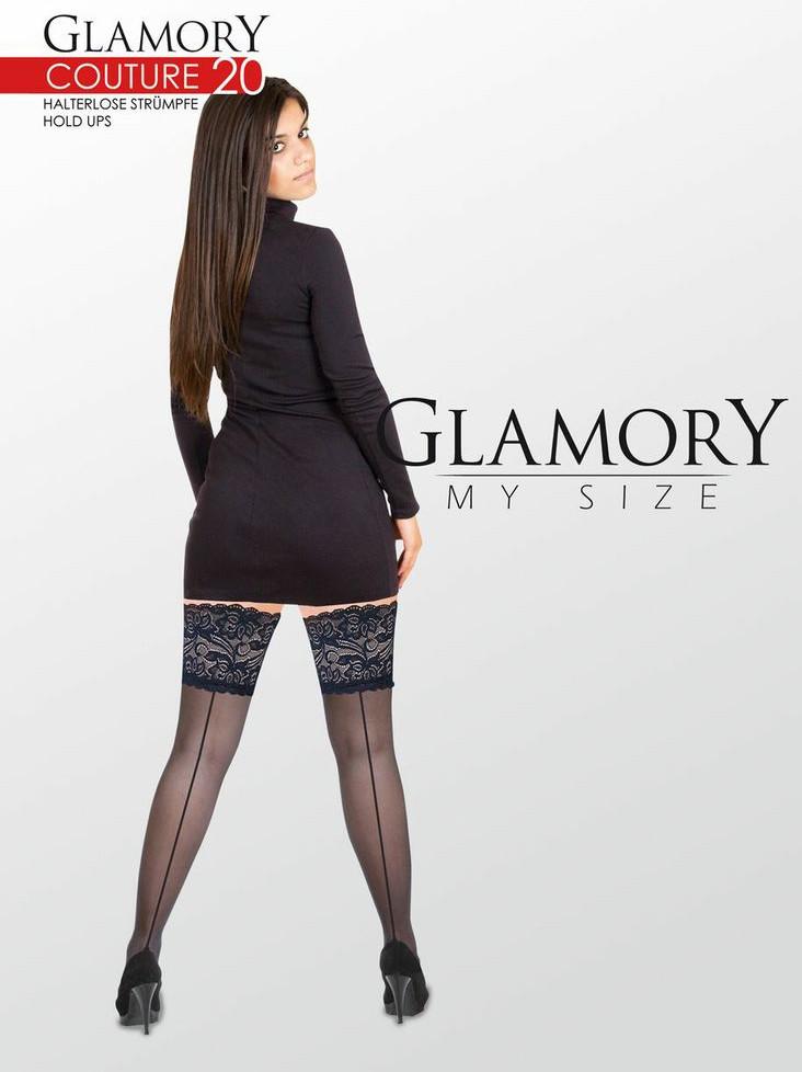 """Der """"Couture 20"""" Halterlose verleiht auch kräftigen wohlgerundeten Beinen einen feminin eleganten Schick: glänzend transparent am Bein mit verführerischer Rücknaht."""