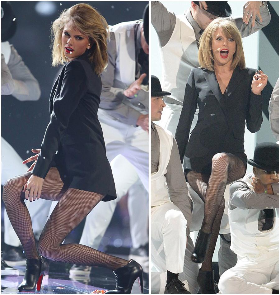Auch Taylor Swift performte bei den Brit-Awards in schwarzen Fishnet-Tights. Foto: Brit Awards