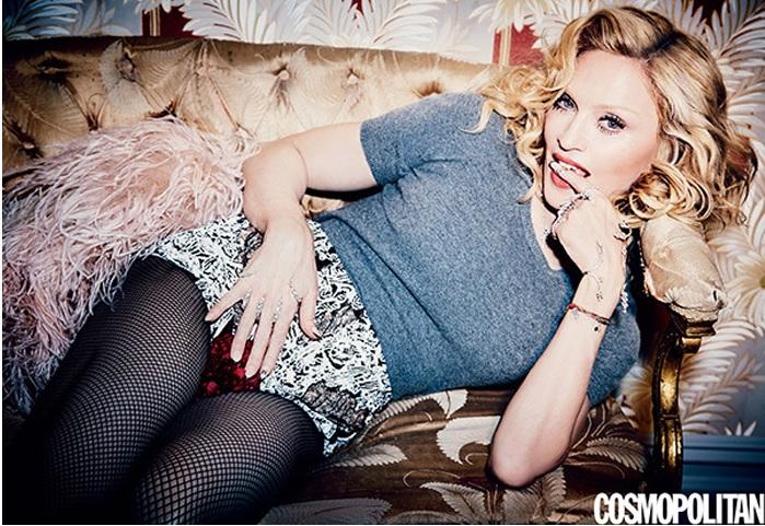 Madonna posiert in feinmaschiger Netzstrumpfhose für die COSMOPOLITAN.
