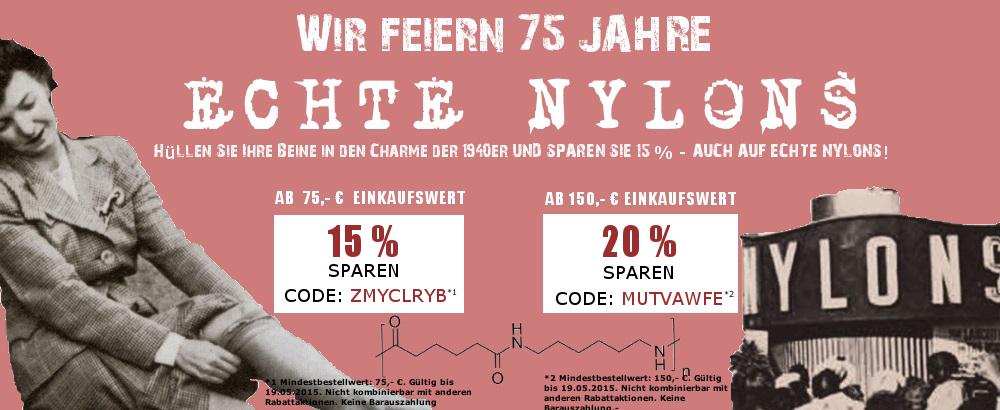 Ab 75,- € Einkaufswert bereits 15% sparen - Auch auf echte Nylons