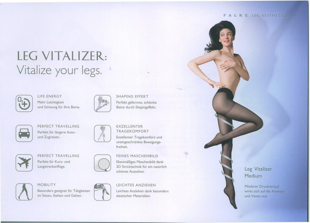Das Leg Vitalizer Sortiment stimuliert die in den oberen Hautschichten liegenden Arterien und Venen. Die Beine werden selbst im Stehen angenehm entlastet und fühlen sich auch nach vielen Stunden noch wohlig leicht und aktiv belebt an.